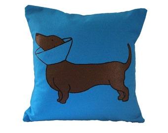 Dotson Pillow / Doxie Pillow / Dachshund Pillow / Turquoise Pillow