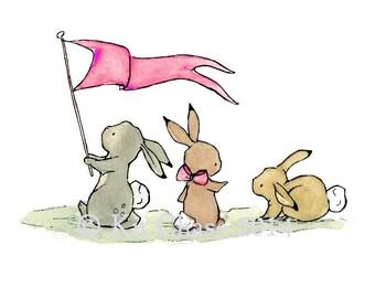 Baby Art -- Bunny Parade -- Art Print