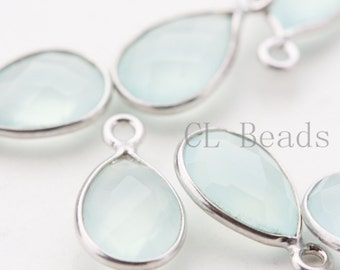 2pcs Sterling Silver Framed Blue Chalcedony Stone - 8x14mm*