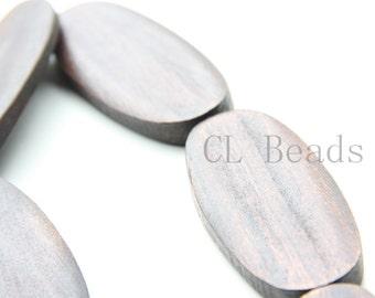 6pcs Oval Shape Wood Beads - 59x20mm