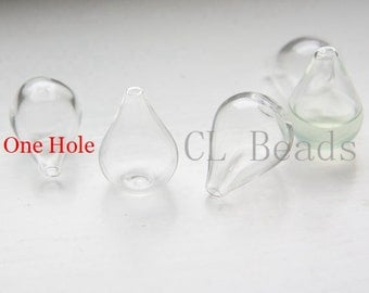 6pcs Hand Blown Hollow Glass Beads- Clear Teardrop with One Hole on the Top 17x26mm (28H5)