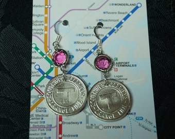 Boston vintage subway token earrings Pink and Silver