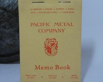 Vintage PACIFIC METAL COMPANY Memo Book---Circa 1950
