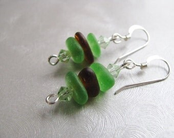 Stacked Sea Glass Earrings , Beach Glass Jewelry , Brown Sea Glass ,  Kelly Green - Sea Glass