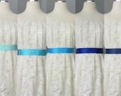 Hochzeit Brautdoppelseitigen Satinband Schärpe Tiffany, Himmel, Türkis, Marineblau und Königs