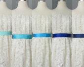 Wedding Bridal Double Faced Satin Ribbon Sash Aqua, Sky, Turquoise, Royal and Navy Blue