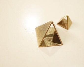 3 pieces of newly cut raw brass pyramid charm 16 mm triangle tube hand cut on both sides
