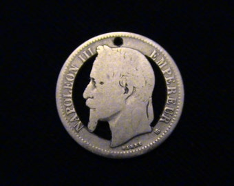 France - cut coin pendant - w/ Napolean III - Emperor of France - SILVER - 1867