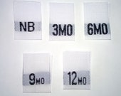 Mixed Baby Size Tags - NB, 3mo, 6mo, 9mo, and 12mo Woven Clothing Tags (Package of 100)
