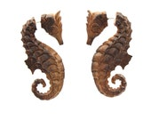 Fake Gauges Earrings -  hand made,tribal style,fake piercings,naturally,Tribal Expander Split,seahorse