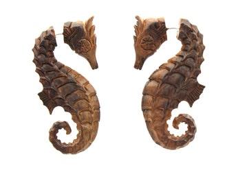 Fake Gauges Earrings -  hand made,tribal style,fake piercings,naturally,Tribal Expander Split,seahorse