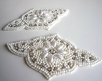 BEADED WEDDING APPLIQUE,  Pearls and Rhinestone   / A - 14