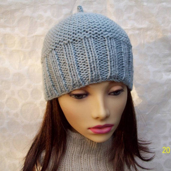 Knit Hat Patterns For Beginners : KNIT BEANIE PATTERN for Belle Hat Easy Beginners Level by artesana
