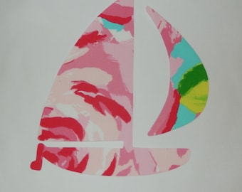 New Made To Order Sailboat Pillow made with Your Choice of over 30 NEW AUTHENTIC Lilly Pulitzer fabrics