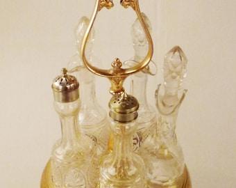 Victorian CRUET Set Aesthetic pattern Five bottles original Glass Goldwashed Silverplate 18 in tall 8 in Diam