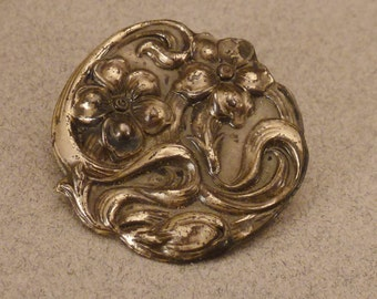 ART NOUVEAU Hat PIN Top Only Sterling signed with metal shank Floral 1 1/8 in diam