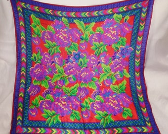 Designer Liz CLAIBORNE Silk SCARF 80S Brilliant Flowers  Signed 35 x 34 colorful great condition