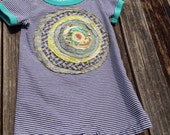 One piece suit -Short Sleeved - Center of the Universe-OOAK Handmade Art Size 12-18 months