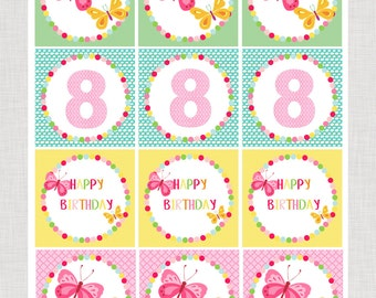 """Girls Butterfly Flutter Party Printable Cupcake Toppers 2.5"""" Butterflies Any Age"""