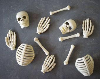 Vintage Halloween Cake Toppers, Cupcake Decorations, Hard Plastic, Skeleton Bones, Skull, Rib Cage, Femur, Cemetery