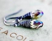 Rainbow Fairy Wing Earrings Swarovski Crystal Dangle Drop Minimal