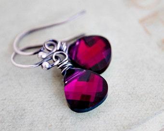 Drop Earrings, Crystal Earrings, Crystal Jewelry, Swarovski Crystal, Dangle Earrings, Wire Wrapped, Sterling Silver, Red Crystal, PoleStar