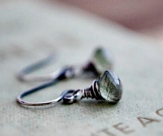 Moss Aquamarine Drop Earrings Silver March Birthstone Dangle PoleStar Green
