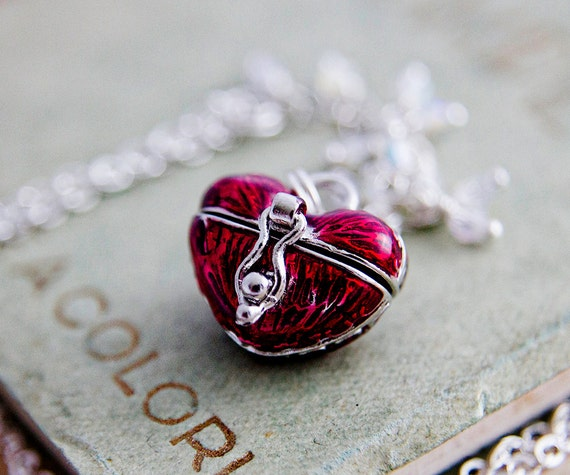 Locket Necklace, Locket Pendant, Prayer Box, Memory Box, Heart Locket, Heart Shaped Box Necklace, Sterling Silver, Valentines Day, Love