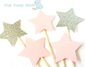 12 Light Pink Silver Girl Glitter Stars Cupcake Toppers Donuts Food Picks Baby Shower Gender Reveal Wedding Bridal Engagement Party Birthday