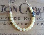 Pale Yellow Aragonite and Grey Jasper Necklace Yellow and Grey Gray Necklace