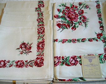 Vintage Kempray Rambler Rose Tablecloth Napkins Set Mint in Box