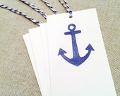 letterpress gift tags: blue anchor (set of four)