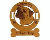 2020 Bull Mastiff Head 2 Personalized Wood Ornament
