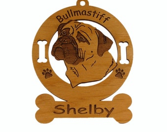 2020 Bull Mastiff Head 2 Personalized Wood Ornament