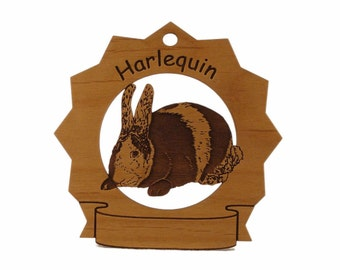 Harlequin Rabbit  Personalized Wood Ornament