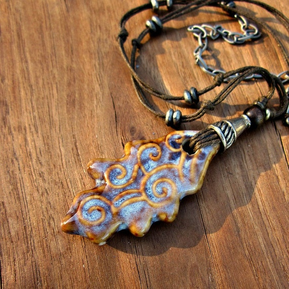 Ceramic Leaf Pendant on Adjustable Cotton Cord Necklace: Delia