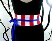 Red and White Stripe Mini Corset Obi  - Sash Waist Cincher Belt Made to Order