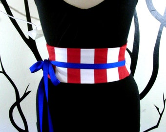 Red and White Stripe Mini Corset Obi  - Sash Waist Cincher Belt Made to Order