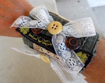 Lace Cuff Bracelet Steampunk Bride Jewelry Alternative Clothing Bohemian Boho Chic Vintage Wearable Art to Wear
