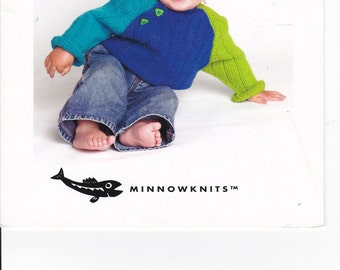 OOP/New 2007 Minnowknits Block and Roll #206 QK  Colorblocked raglan pullover Sizes Newborn to 3 months, 6 months, 1-2 years