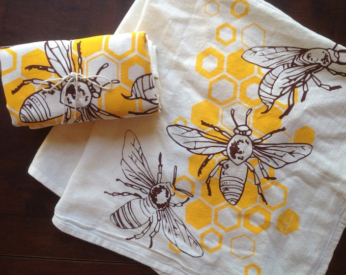Honey Bees Flour Sack Tea Towels - Set of 2 | Honeybee Towel | Handmade Holiday Gift | Homeware Gifts | Hand Printed Kitchen & Dining