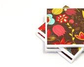 Tile Coasters - Chocolate Rainbow Floral - Set of 4 Ceramic Tile Coasters