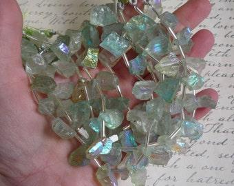 Rainbow Aura Mystic Green Topaz Raw Nugget Briolette  Beads Rough Druzy Aqua Aura