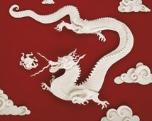 Dragon (The Pearl Chaser) - postcard art print of an original paper sculpture by Tiffany Budzisz