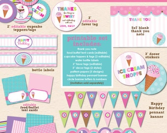 Ice Cream Shoppe Birthday Party - DIY/Printable Complete Party Pack- Instant Download PDF File