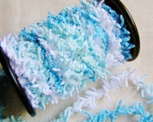 Sky Blue Aqua White Ombre Terri Fringe Trim- novelty gift wrapping supply, wedding favor embellishment, specialty party garland- 3 yds