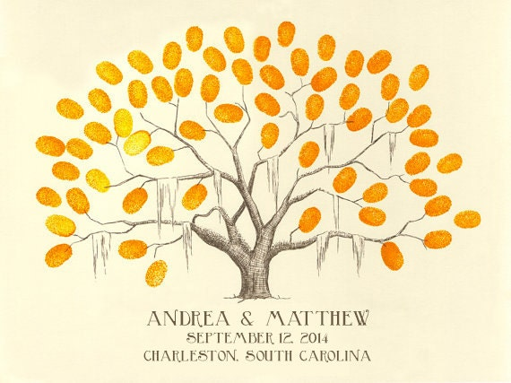 Fingerprint / Thumbprint Tree Guestbook Alternative SMALL Wedding / Family Reunion / Baby Shower / First Communion Tree