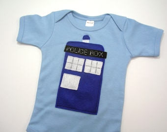 Tardis Doctor Who Onesie 3-6 Months with Ecospun Felt // BBC Show // Police Box // Baby Shower Gift