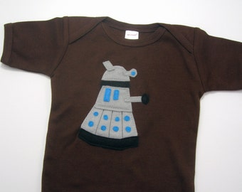 Dalek Dr. Who Baby One Piece in 6 to 12  Months Chocolate Brown // Baby Shower Gift // Christmas Gift for a New Nerd Baby