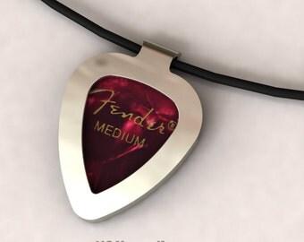 Sterling Silver Guitar Pick Holder Necklace Pendant